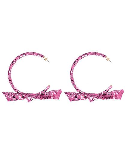 Brinco de argola bandana pink Celine