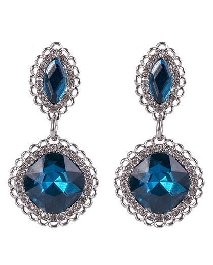 Brinco de metal prateado com pedra azul e strass cristal Barbara