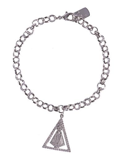 Pulseira de metal prateado com strass cristal Odete