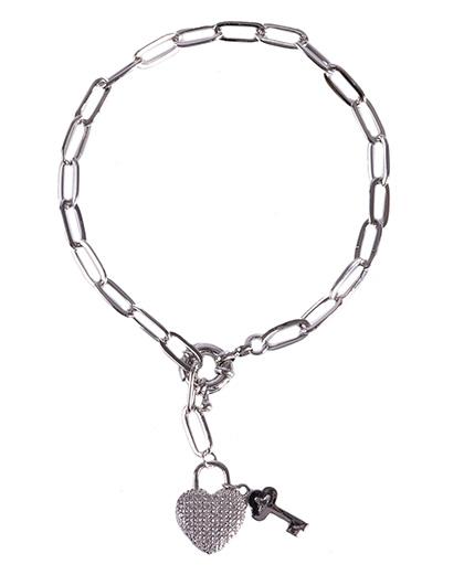 Pulseira de metal prateado com strass cristal heart