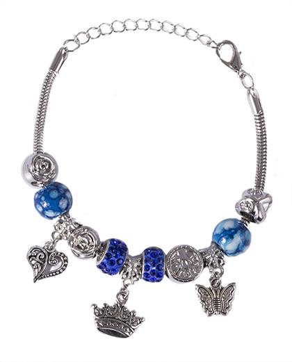Pulseira de metal prateado com pedra azul Juçara