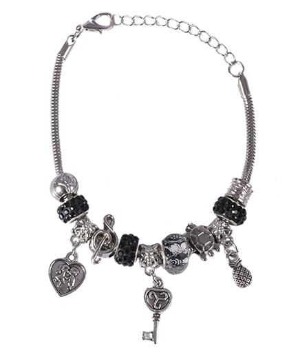 Pulseira de metal prateado com pedra preta Berenice