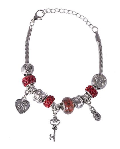 Pulseira de metal prateado com pedra vermelha Berenice