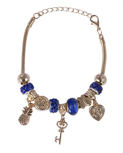 Pulseira de metal dourado com pedra azul Berenice