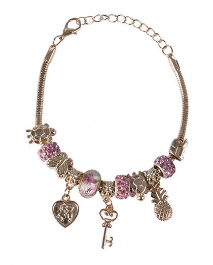 Pulseira de metal dourado com pedra rosa Berenice
