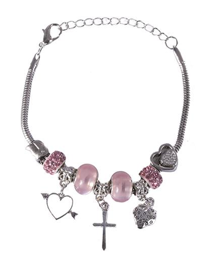 Pulseira de metal prateado com pedra rosa Lorena