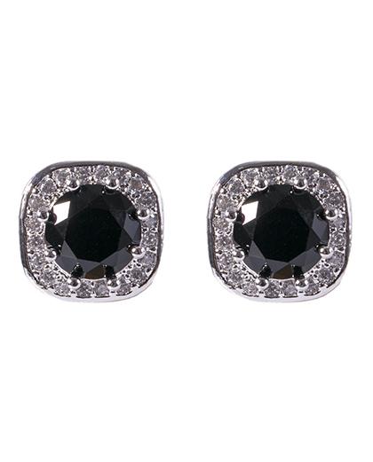 Brinco pequeno de metal prateado com pedra preta e strass cristal marci