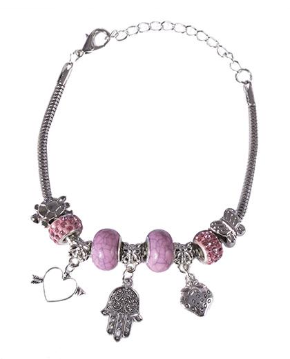 Pulseira de metal prateado com pedra rosa Lurdes