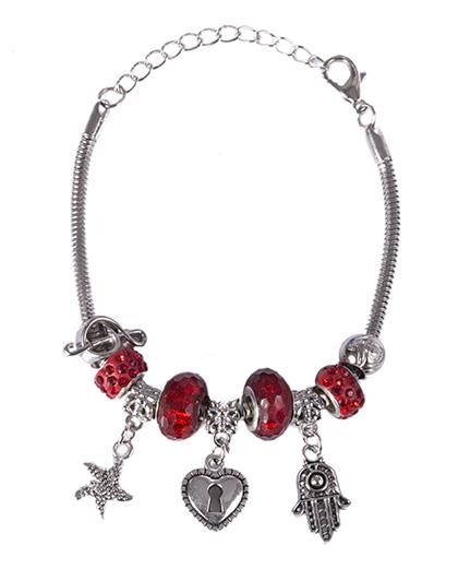 Pulseira de metal prateado com pedra vermelha Patricia
