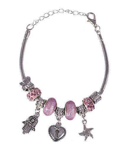 Pulseira de metal prateado com pedra rosa Patricia