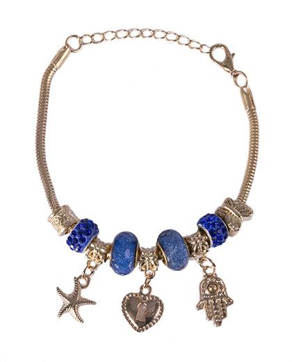 Pulseira de metal dourado com pedra azul Patricia