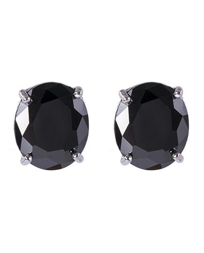 Brinco pequeno de metal prateado com pedra preta viviane