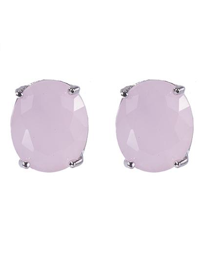 Brinco pequeno de metal prateado com pedra rosa viviane