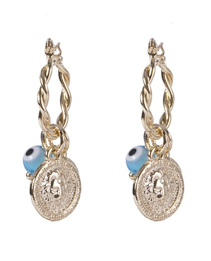 Brinco de argola de metal dourado com olho grego azul Erika