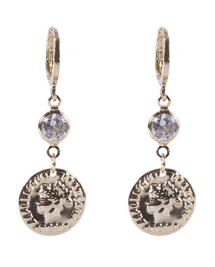 Brinco de argola de metal dourado com pedra cristal Marjorie