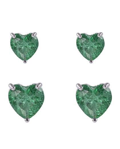 Kit 2 pares de brincos de metal prateado com pedra fusion verde Amme