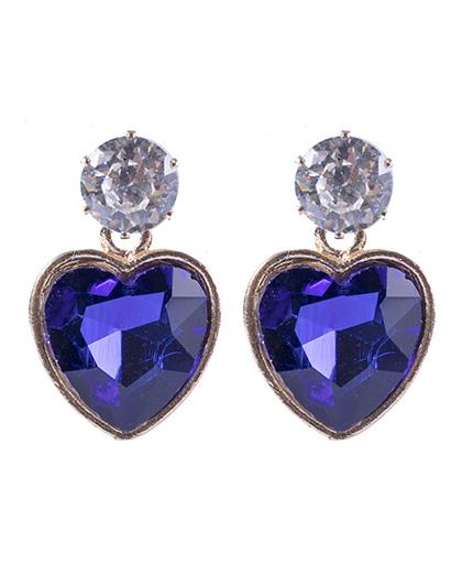 Brinco pequeno de metal dourado com pedra azul Valentina
