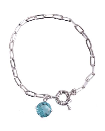 Pulseira de metal prateado com pedra azul Bia