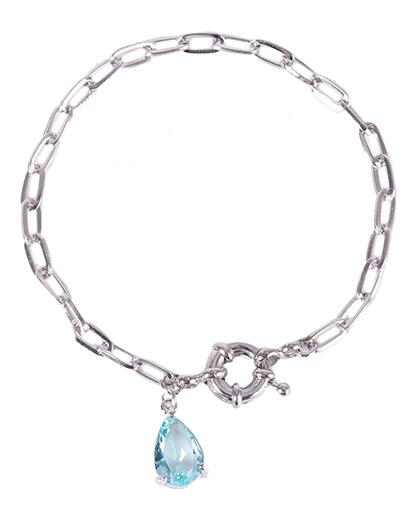 Pulseira de metal prateado com pedra azul Lia