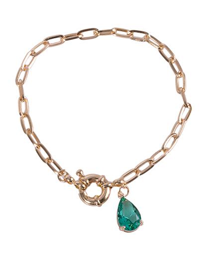Pulseira de metal dourado com pedra verde Lia