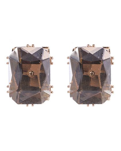 Brinco pequeno de metal dourado com pedra cristal giovana