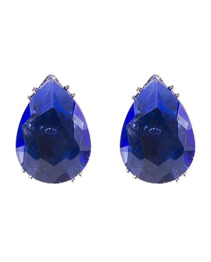 Brinco pequeno de metal prateado com pedra azul denise