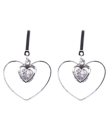 Brinco de metal prateado com pedra cristal heart