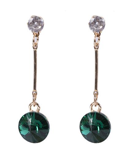 Brinco de metal dourado com pedra verde jade