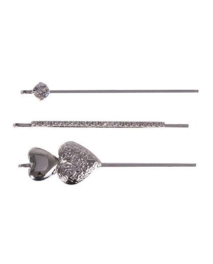 Kit 3 presilhas de metal prateado com strass cristal antonella
