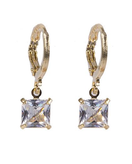 Argola de metal dourado com pedra cristal rejane