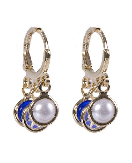 Argola de metal dourado com olho grego azul royal ane