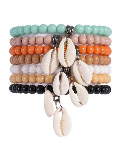 Kit 7 pulseiras de acrílico colorido fatima