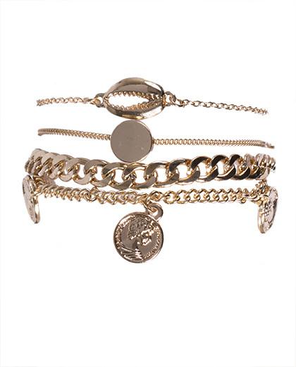 Kit 4 pulseiras de metal dourado iara