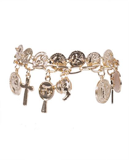Kit 2 pulseiras de metal dourado camila