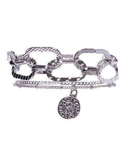 Kit 2 pulseiras de metal prateado rafaela