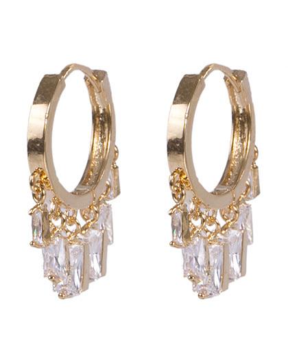 Argola de metal dourado com pedra cristal mariele
