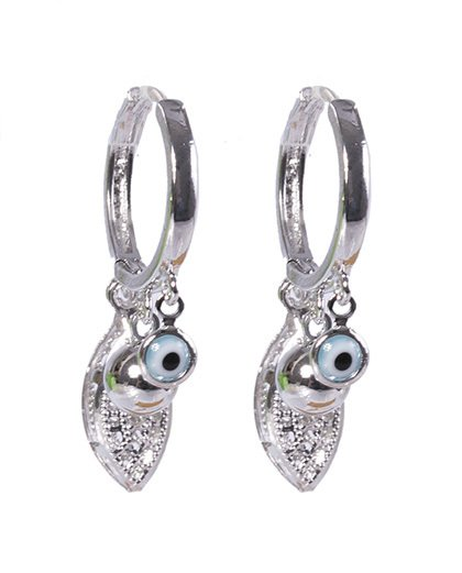 Argola de metal prateado com olho grego valesca