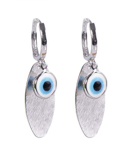 Argola de metal prateado com olho grego sofie