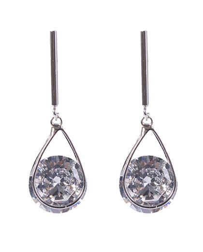 Brinco de metal prateado com pedra cristal verônica