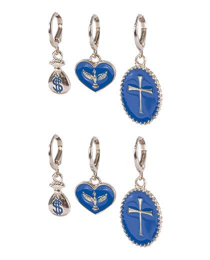 Kit 3 pares de argola dourada com azul Eduarda