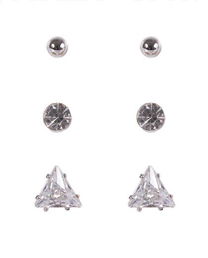 Kit 3 pares de brincos de metal prateado com pedra cristal karina