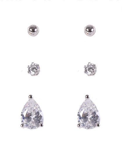 Kit 3 pares de brincos de metal prateado com pedra cristal kiara