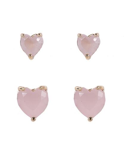 Kit 2 pares de brincos de metal dourado com pedra rosa kamila