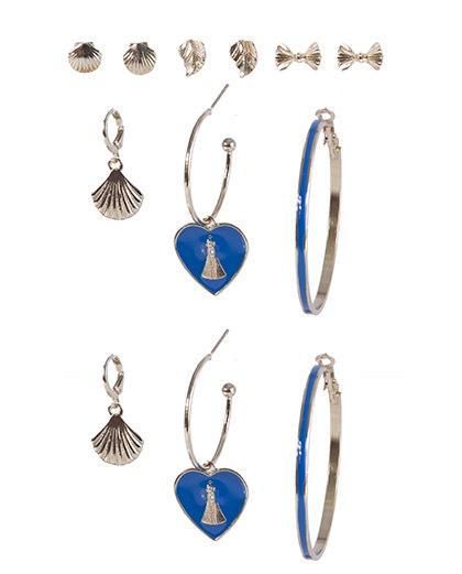 Kit 6 pares de brincos dourado com azul késia
