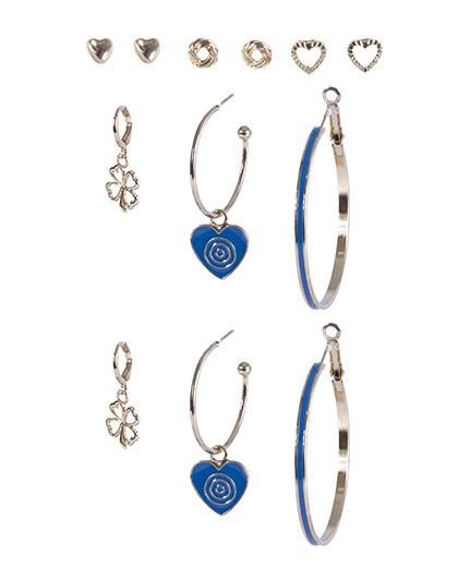 Kit 6 pares de brincos dourado com azul karolaine