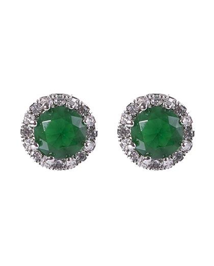 Brinco pequeno de metal prateado com pedra verde amora