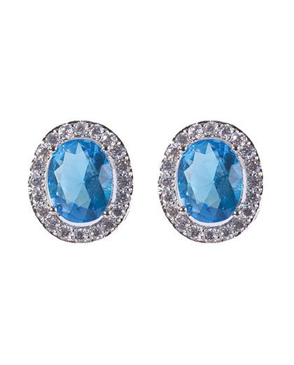 Brinco pequeno de metal prateado com pedra azul ariele