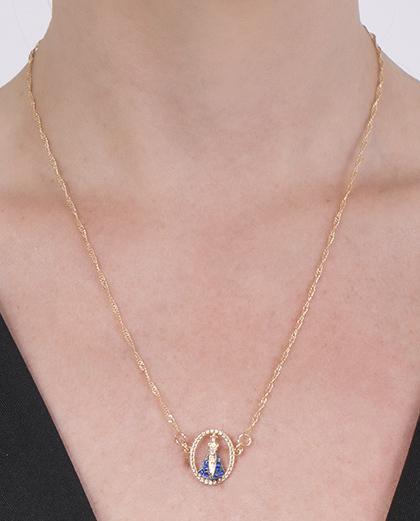 Colar folheado de metal dourado com strass azul Deolinda