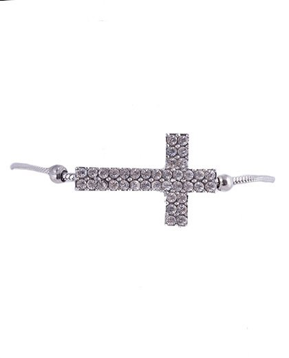 Pulseira de metal prateado com strass cristal nalu