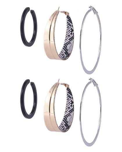 Kit 3 argolas de metal prateado, dourado e acrílico preto vivy